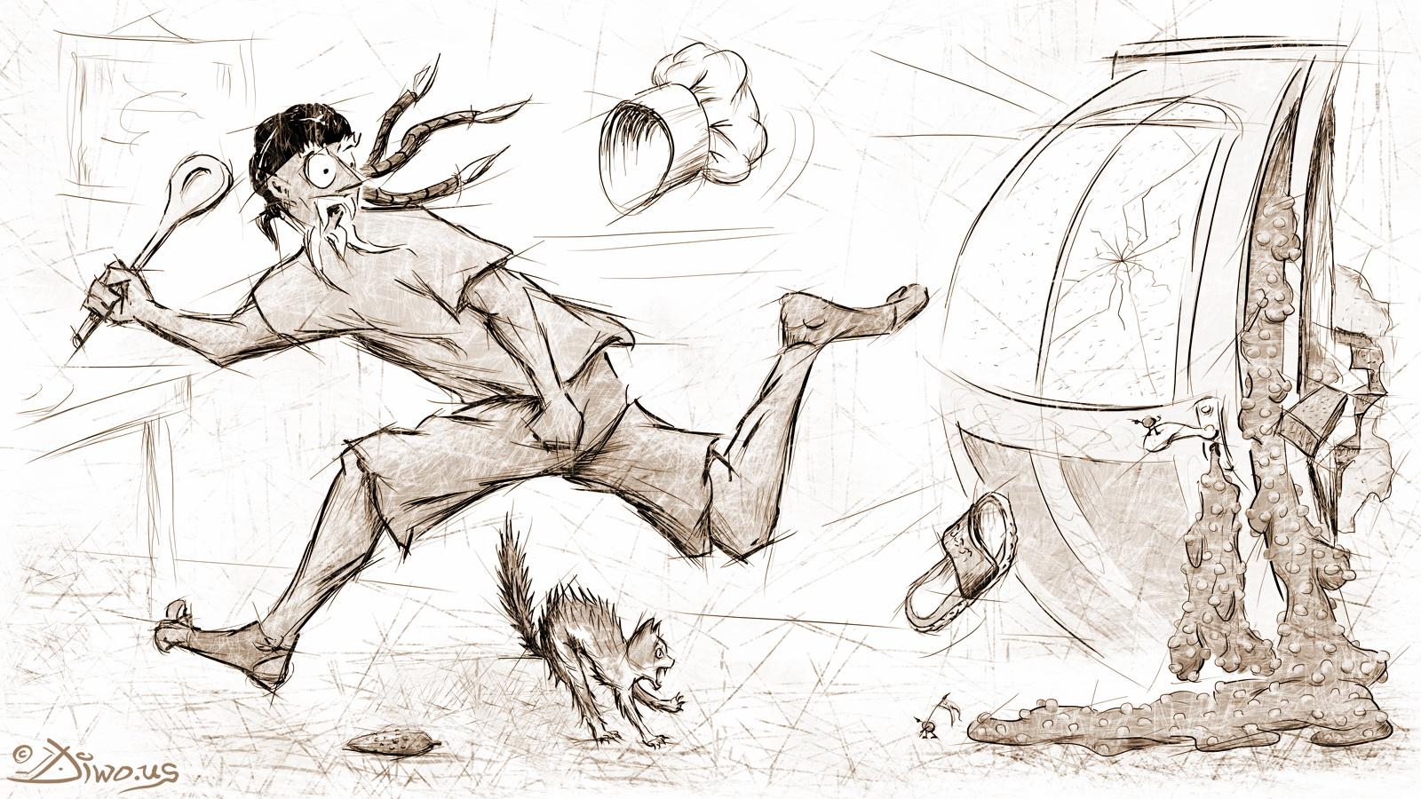 """Ilustrace humorných povídek """"Můj den Blbec!"""" č. 4"""