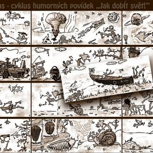 """Ilustrace humorných povídek """"Jak dobÍt svět!"""" č. 1–13"""