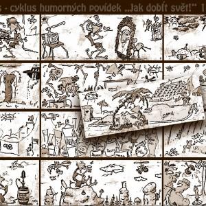 """Ilustrace humorných povídek """"Jak dobÍt svět!"""" č. 14–26"""