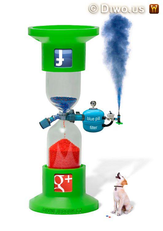 Divnej Brouk - Přesýpací hodiny Facebook - Google+ sandglass, hourglass, G+, Plus, Red Pill, Blue Pill Filter, dog, červená modrá pilulka, pes