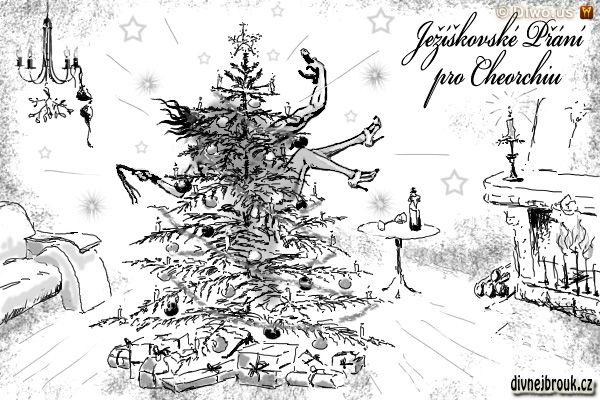Divnej Brouk - Vánoční ježíškovské přání kresba - Cheorchia Cheo - stromeček, krb, jmelí, svícen, divoký sex, důtky, dvojitý vibrátor
