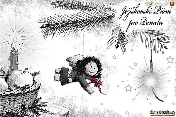 Divnej Brouk - Vánoční ježíškovské přání kresba - Pamela B - andělíček, stromeček, ošatka s ovocem, prskavka, svíčka