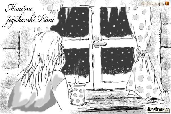 divnej brouk - kresba, vánoční nálada, sníh za oknem, dívka, hrnek, hrneček s puntíky, záclonky, chalupa, kakao, káva, čaj s rumem, rampouchy