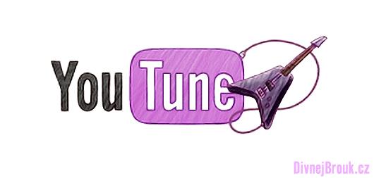divnej brouk - nové růžové logo - kytara Flying V, YouTube Music, YouTune