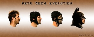 Diwous - Petr Čech Evolution, evoluce, tankista, batman, football goalkeeper, brankář, FC Chelsea, rugbyová helma, chránič nosu, zranění hlavy, vtip, humor, Divnej Brouk, Cech, Mask, Zorro, maska, Česko, Černá Hora
