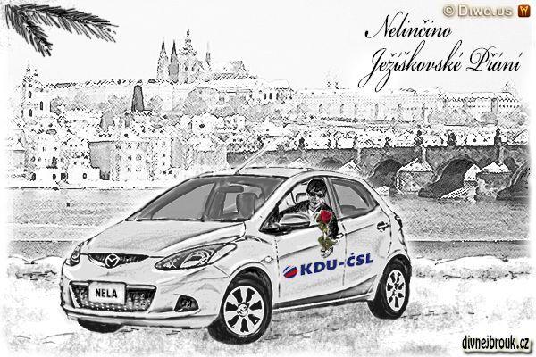 divnej brouk - kresba, vánoce, zasněžená Praha Novotného lávka, Hradčany, Pražský Hrad, Karlův most, Malá Strana, Kampa, Vltava, Karlovy lázně, nábřeží, Mazda 2, zima, KDU-ČSL