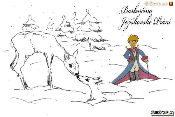 divnej brouk - kresba, srnka, srneček, zasněžená krajina, mýtina, palouk, malý princ