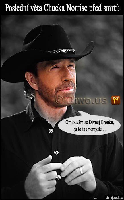 divnej brouk - Chuck Norris, poslední slova věta před smrtí, TV televizní seriál CBS Walker, Texas Ranger, černý klobouk, košile