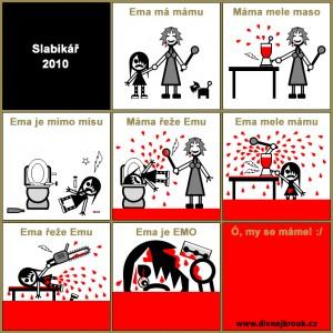 Diwous, Divnej Brouk, Ema má mísu, Emo, EMO Slabikář 2010, Máma mele maso, móda, oblečení, sebepoškozování, účesy