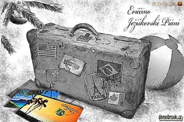 divnej brouk - kresba, vánoční dáreček, letní prázdniny dovolená u moře, pláž, slunce, tropy, palmy, starý kufr, nafukovací míč balón, stromeček, ozdoba