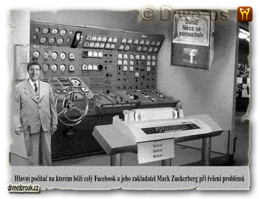 divnej brouk - main facebook server, logo, hlavní centrální řídící releový elektronkový počítač, velín, CML - Centrální Mozek Lidstva, Mark Zuckerberg, tiskárna, kladivo, monitor, retro