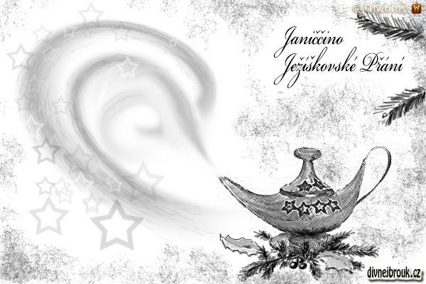 divnej brouk - kresba, vánoce, dekorace, list Acanthus, Cesmína, jehličí větvička, stará Aladinova kouzelná lampa, mosaz, starožitnost, hvězdičky