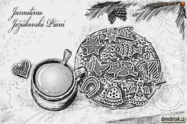 divnej brouk - kresba, vánoce, vánoční pohoda, láska, štěstí, zdraví, rodina, perníčky, hrnek, hrníček, káva, kafe, kakao, lžička, borová větvička, jehličí