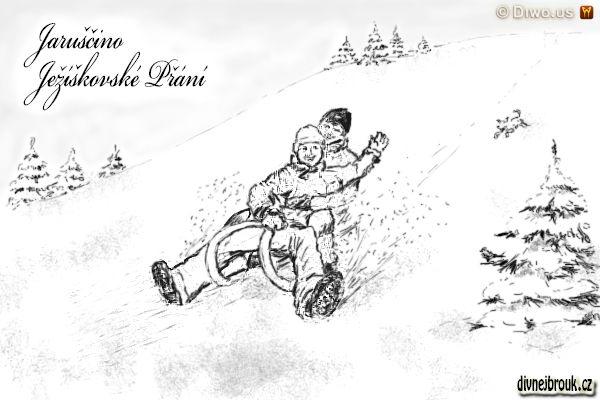 divnej brouk - kresba, sáňky, sáňkování, zasněžená stráň, kopec, sníh, smrček, pejsek, radost, štěstí