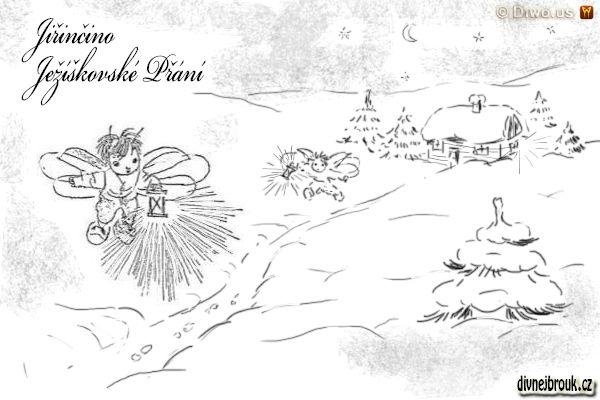 divnej brouk - kresba, Broučci, lucernička, smrček, chaloupka, zasněžená krajina
