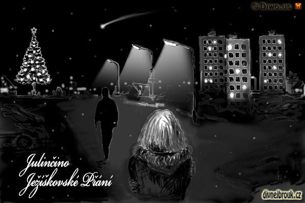 divnej brouk - kresba, návrat, láska, přítel, dívka, chlapec, zasněžená ulice, noční město, sídliště, noc, Štědrý den večer, kometa, vánoční strom, panelák, pouliční lampa