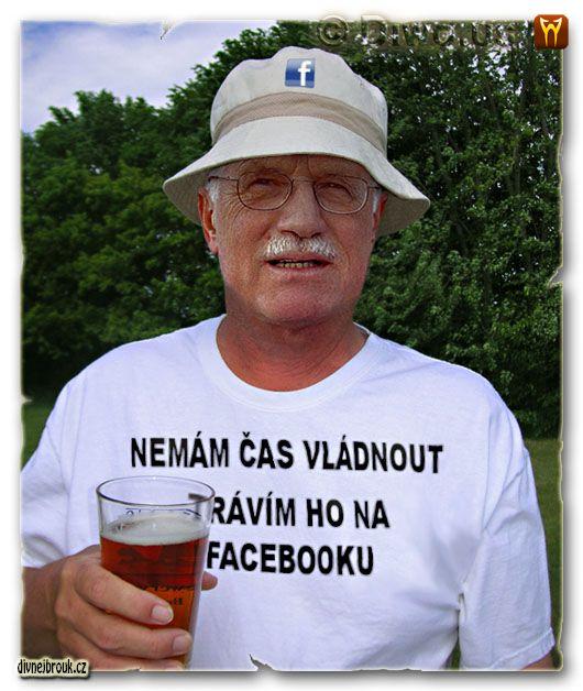 divnej brouk - prezident Václav Kikina Klaus, Bierfest, logo Facebook font, kelímek pivo, reklamní klobouček