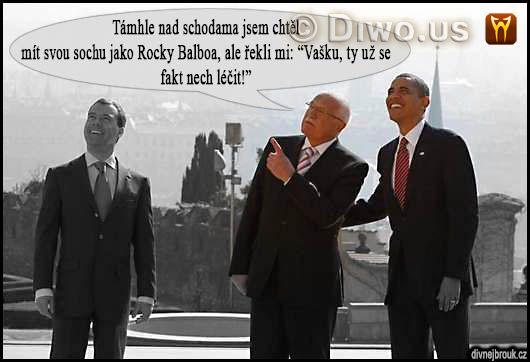 divnej brouk - prezident Václav Klaus, Barack Obama, Dmitrij Medveděv, pražský summit, Hrad, podpis odzbrojovací smlouva START omezení, snížení jaderných zbraní, 8.4. dubna 2010, socha Rocky Balboa