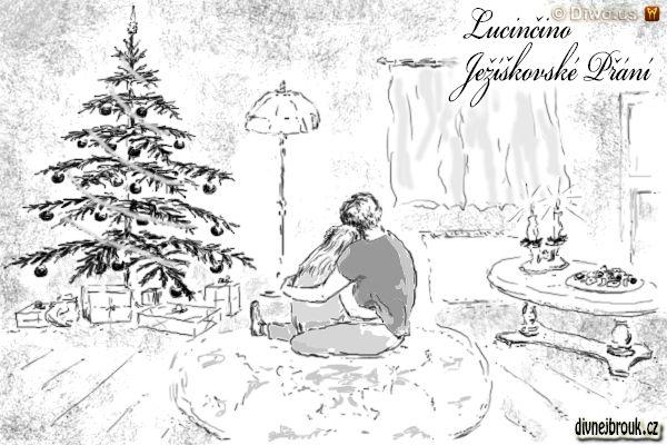 divnej brouk - kresba, vánoce, stromeček, dárky, zamilovaný páreček, konferenční stolek, svícen, cukroví