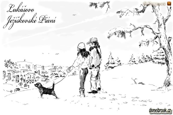 divnej brouk - kresba, zimní krajina, procházka, psík, chlapec a dívka, stromky, stará borovice, zasnežené město, vyhlídka, bígl
