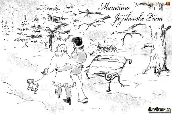 divnej brouk - kresba, zamilovaný pár, zimní krajina, zasnežený park, lavička, sníh, procházka, pejsek, stromy, kožich