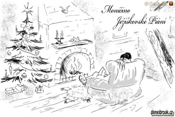 divnej brouk - kresba, zamilovaná dvojice, horská chata, srub, krb, trám, křeslo, vánoční stromeček, dárky, medvědí kůže, svícen, krbová římsa