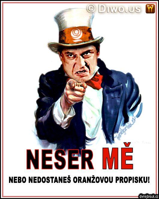 divnej brouk - Jiří Jyrka Paroubek - Neser mě! Uncle Sam - I want you for U.S. army, plakát oranžová propiska, klobouk, Amerika, ČSSD