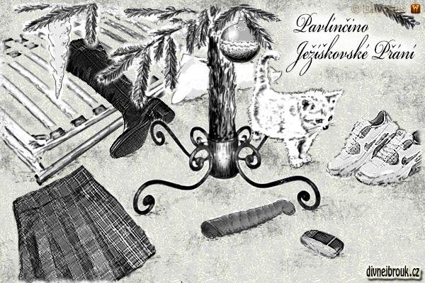 divnej brouk - kresba, vánoce, stromeček, vánoční dekorace, rampouch, koule, baňka, károvaná sukně, vibrátor, mobilní telefon, starodávný retro stojan na stromeček, kocourek, polštář, rošt do postele, kozačky, tenisky