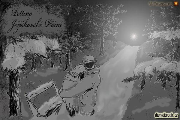 divnej brouk - kresba, vánoce, láska, štěstíčko, zachumelený les, park, cesta, sníh, stromy, hvězda, světlo, zamilovaný pár, větve