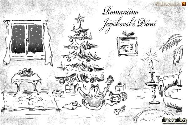 divnej brouk - kresba, vánoční stromek, sníh za oknem, ovoce na míse, dárky, holčička, panenka, křeslo, svícen, svíčka, dřevěný koník, míč