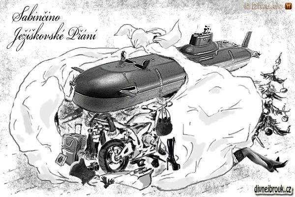 divnej brouk - kresba, vánoční dárky, stromeček, kozačky, kabát, foťák, kabelka, kufr, kniha, korzet, podvazky, kadeřník, monoploutev, neoprenové rukavice, Honda CBR 600F, jaderná ponorka