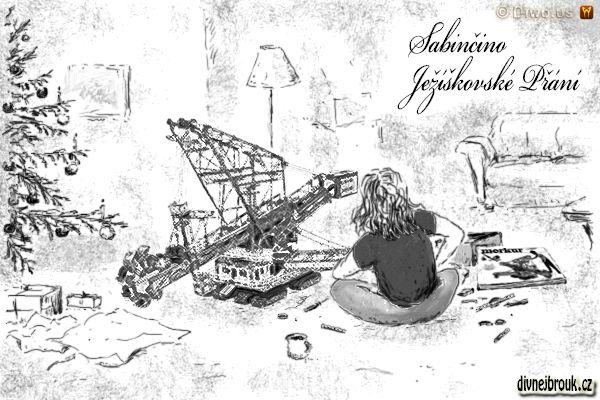 divnej brouk - kresba, vánoční dárek, stromeček, lampa, gauč, stavebnice Merkur, korečkové rypadlo