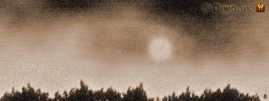 Diwous - smutné povídky - Jednoho slunného dne, duše, les, slunný den, smutná povídka o životě a smrti, vrcholky stromů, západ slunce, život a smrt
