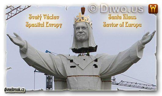 divnej brouk - socha sv. svatého Václava, prezident Václav Santa Klaus - Spasitel obří největší nejvyšší, world's largest biggest Statue Jesus Christ Poland, Polsko