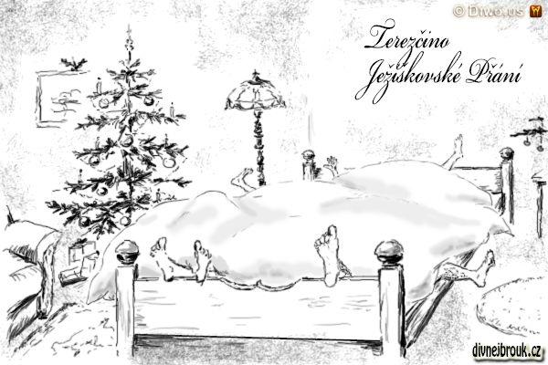divnej brouk - kresba, vánoce, stromeček, lampa, postel, peřina, nohy, štěstí, zdraví, rodina