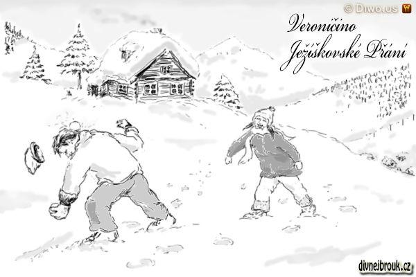 divnej brouk - kresba, hory, zima, sníh, romantická chaloupka, chata, horská bouda, stráň, svah, koulovačka, sjezdovka, roubenka, smrk