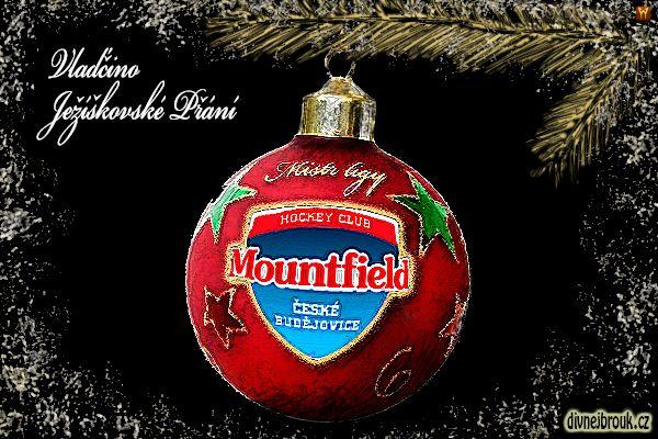 divnej brouk - kresba, vánoční dekorace, pozlacená větvička, jehličí, borovice, smrk, jedle, koule, baňka, HC Mountfield České Budějovice, hokejový klub, Mistr ligy