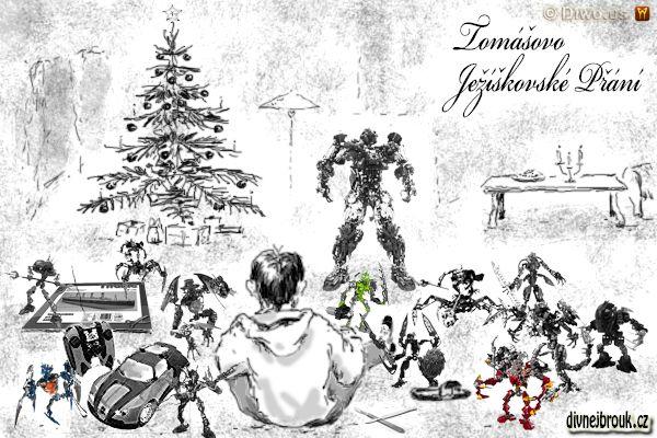 divnej brouk - kresba, vánoční dáreček, stromeček, hračky, Lego Bionicle, RC model auto na vysílačku, papírové modely, vystřihovánky, lepení, skalpel