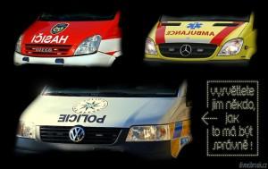 Diwous - Policie vzhůru nohama, hasiči, ambulance, služební auto, zrcadlový nápis, IČISAH, EICILOP, ECNALUBMA, blbci, vtip, humor