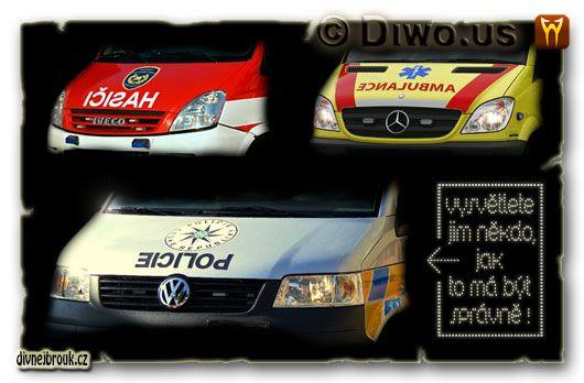 divnej brouk - znak, zrcadlový nápis, logo policie České Republiky, hasiči, ambulance, Pomáhat a chránit, dodávka, sanitka, výjezdový zásahový vůz, Iveco, Mercedes, Volkswagen