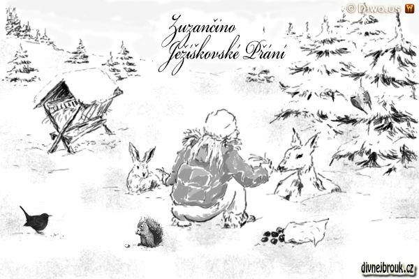 divnej brouk - kresba, zachumelený les, palouk, zvířátka, zimní krmení zvěře, kaštany, srnka, seno, zajíček, veverka, zajíc, kos, sýkorky, zavěšený lůj, krmítko, krmelec, sůl, dívka