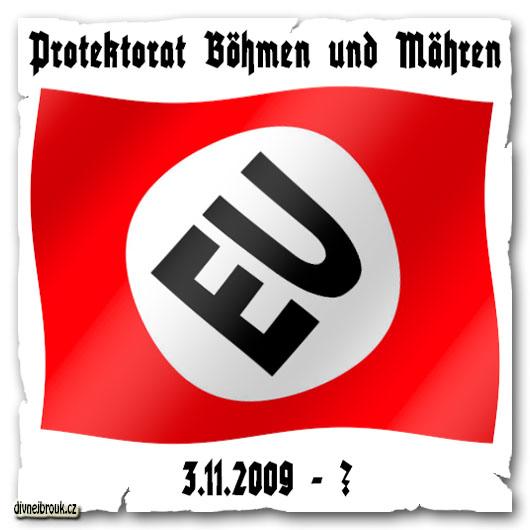 divnej brouk - vlajka, logo EU, Evropská Unie, European Union, svastika, nový protektorát Čechy a Morava, new flag Protektorat Böhmen und Mähren, 3.11.2009