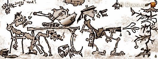 Diwous - humorné povídky, cyklus Jak dobÍt svět, Jak jsem ztropil Vánoce, Borovička, Božkov, Chuck Norris, Domestos, Halloween, James Hetfiel, kapr, Karel Gott koledy, Karel Jarolím Loprais, katana, korečkové rypadlo, letlampa, McDonald's, melta, Merkur, Michael Jackson, napalm, piraňa, Play Station, purpura františek, rotvailer, sarkofág, Škoda 105, sněhulák, Spišská nová klobása ves, Vánoce, Vánoční tadice, zlaté prasátko, Zverimex