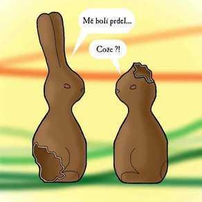 divnej brouk - Veselé Velikonoce, velikonoční čokoládový zajíc