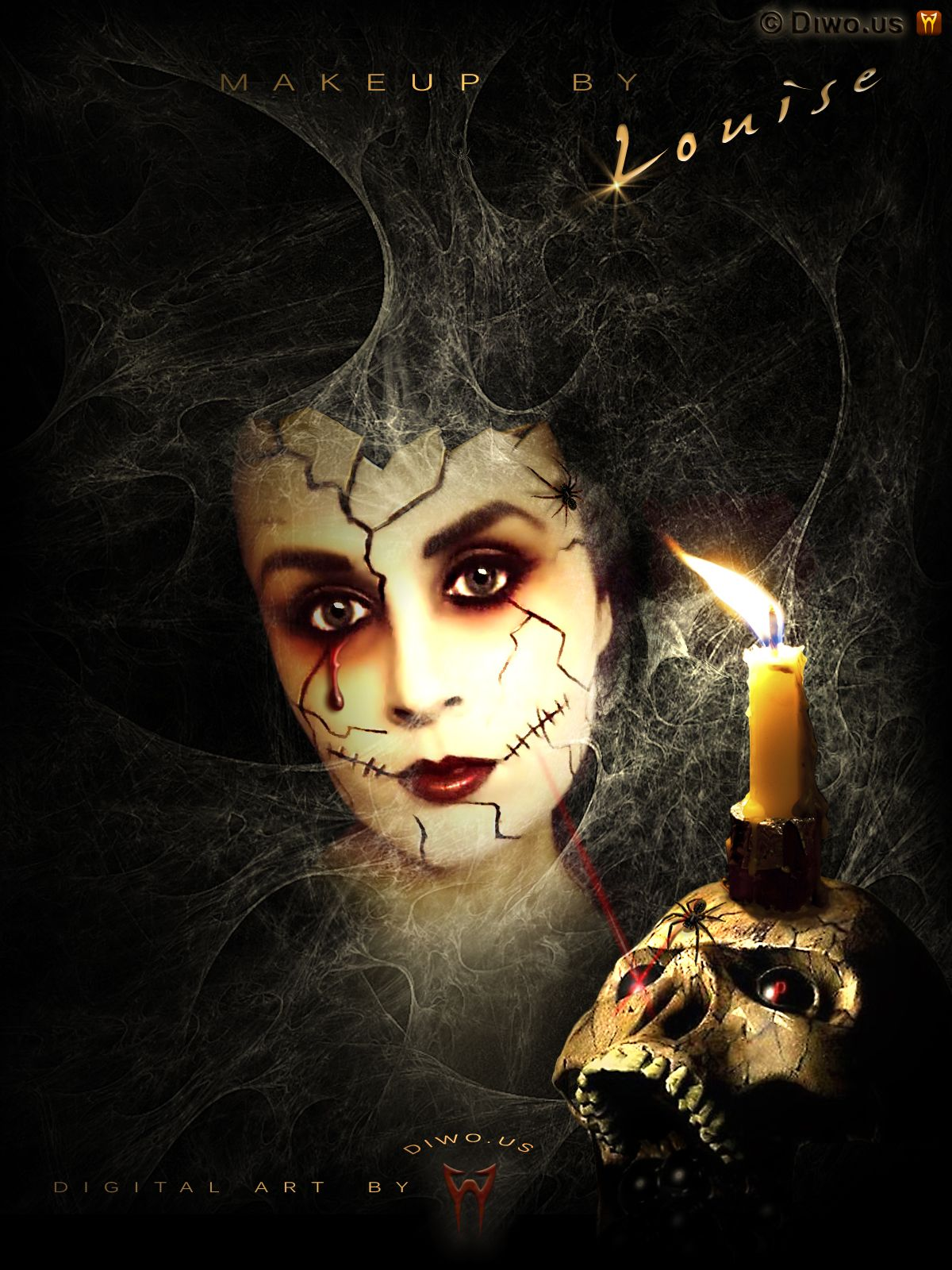 Diwous - MakeUp by Louise McDonagh, Halloween, Digital Art, paintbrush, photomontage, photo, manipulation, scary, skull, candle, spider, net, web, broken, porcelain, doll, fotomontáž, rozbitá panenka, lebka, svíčka, pavouk, pavučina