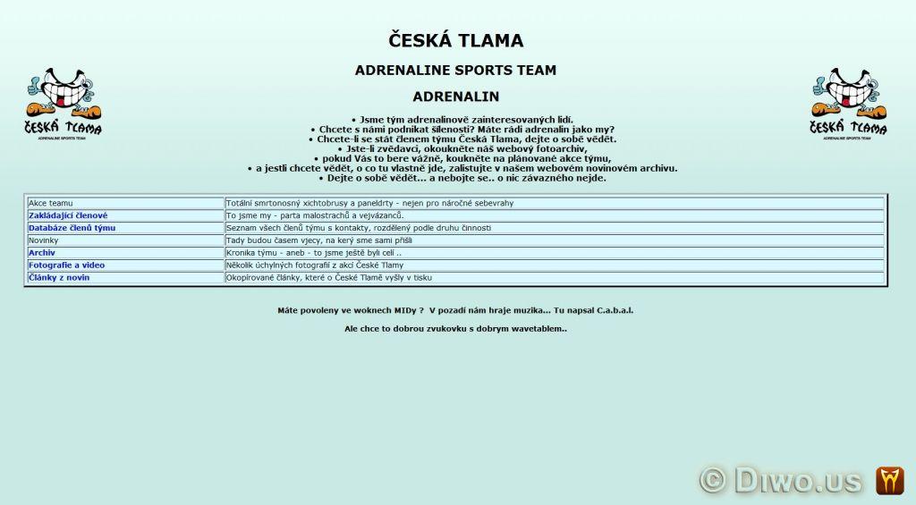 Diwous - Česká Tlama - web, historický, retro, kuriozita, webové stránky, internet, starý, začátky, zajímavost, rarita