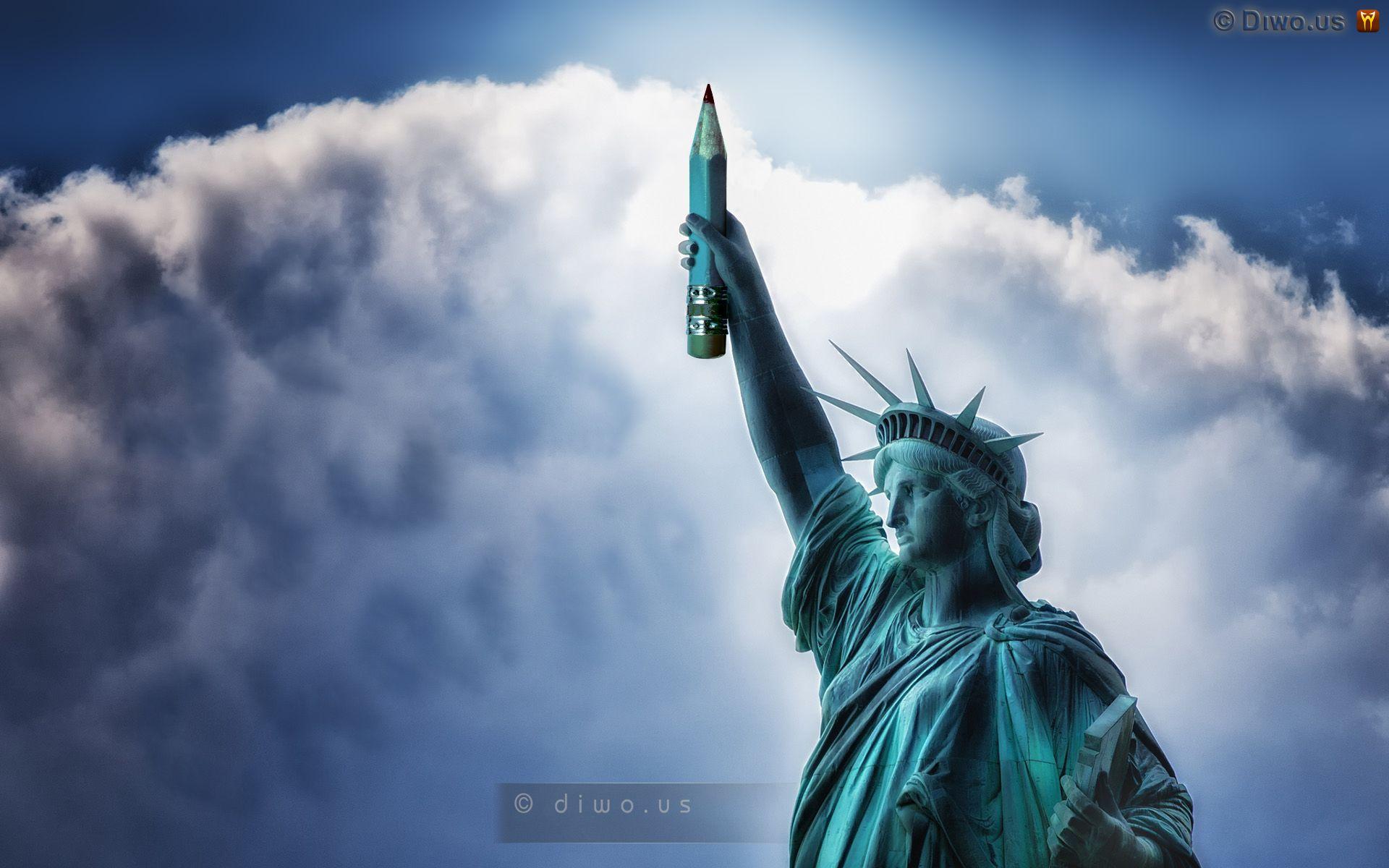 Diwous - Je suis Charlie Hebdo, fotomontáž, humor, Je suis Charlie, karikatura, socha Svobody, tužka, vtip, Statue of Liberty