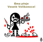 Diwous - FUJ!SLABIKÁŘ - Info - sváteční přání, Veselé Velikonoce, králíček, bílý králík, penis, vajíčka velikonoční, kraslice, ošatka, nůž, krev, Ema