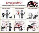 FUJ!SLABIKÁŘ - předělávka z internetu od neznámého autora, fanclub, fans, fanoušci, parodie, napodobenina, slabikář, první ročník, základní škola, děti, žáci, brutál, krev, násilí, Žáček, Ema mele, máma, záchod, pila, mixér, karikatura, kreslený komiks