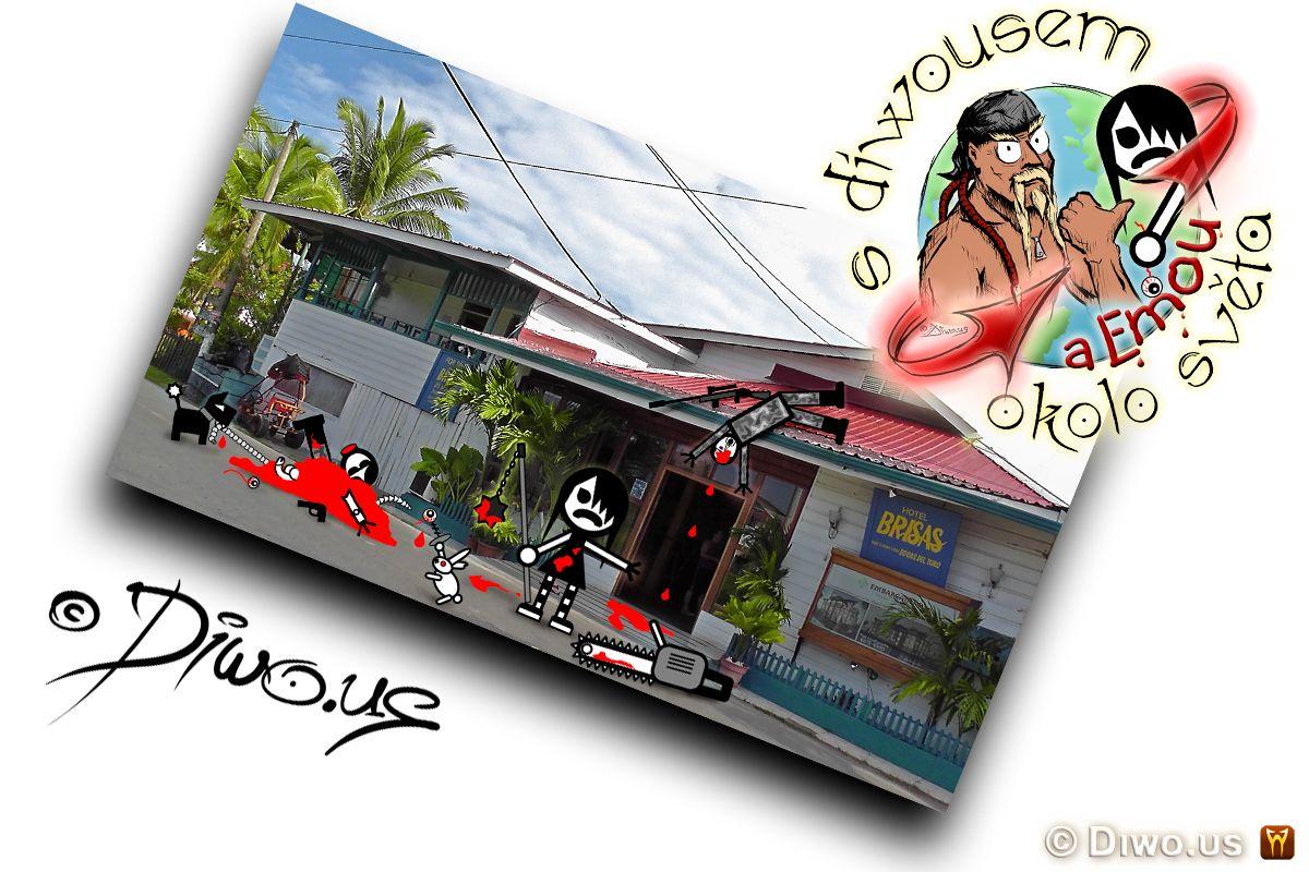 Diwous - s Diwousem a Emou okolo světa - díl 5 - Jatka v hotelu Brisas, unikátní komiksový obrázkový cestopis, komiks, Emo Ema, FUJ!SLABIKÁŘ, morálně závadný komiks, pro psychicky narušené děti, tropy, hotel, Panama